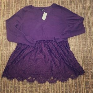 NWT Torrid Sweater with Lace Detail